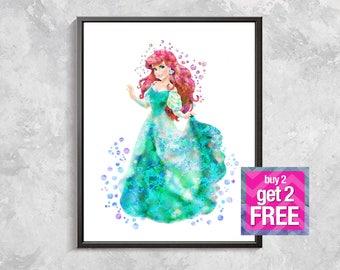 Ariel Print, Ariel Princess poster, Ariel Watercolor mermaid, princess Art Print, Ariel decor, Princess birthday Party, Digital download art