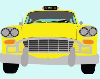 New York Yellow Taxi poster-Manhattan Cab Print-Automobile Decorative Art Print-Colourful yellow cab print-Large Print-Cool illustration