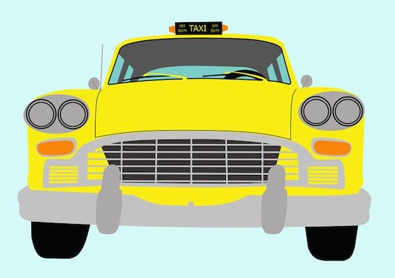 New York Yellow Taxi Plakat-Manhattan Cab Druck-Auto