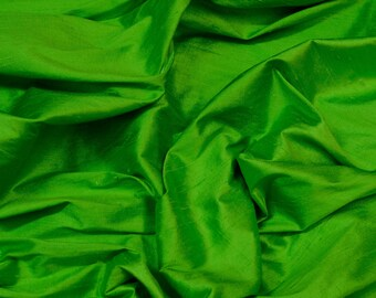 "Apple Green Dupioni Silk, 100% Silk Fabric, 44"" Wide, By The Yard (S-225)"