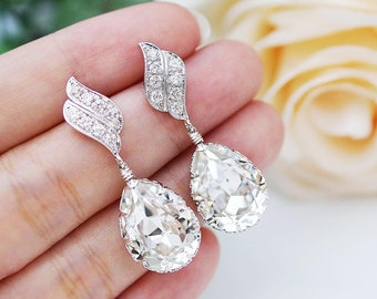 Wedding Jewelry Bridal Earrings Bridesmaid Dangle Earrings LUX Cubic zirconia earrings with Clear White Swarovski Crystal Tear drop Earrings