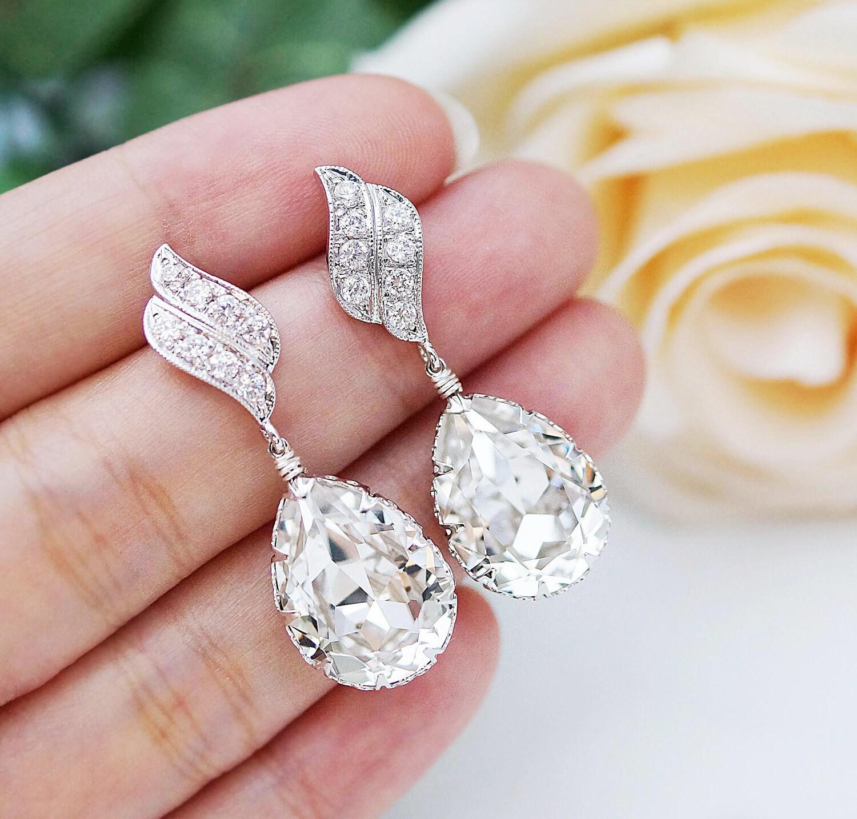 Wedding Jewelry Bridal Earrings Bridesmaid Dangle Earrings LUX
