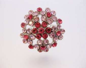 Vintage Pink & Red Rhinestone Statement Ring | 1970's Jewelry Jewellery | Vintage Rhinestone Ring | Gift Jewelry for Her