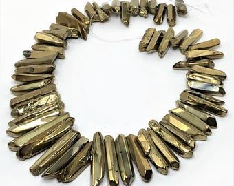 Gold Colour Quartz Points Crystal Point Beads Top Drilled Raw Quartz Crystal Stick Beads Gold Gemstones LynnsGemSupplies