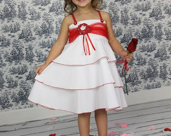 Girls Dress Wedding Easter Birthday White Red Custom layered twirl dress Size 2T to 12 years
