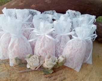 Lace Favor Bags - Wedding Favour Bags - Favor Bags - Wedding Gift Bags - Wedding Mementos - Set of 50  - Choose color of ribbon