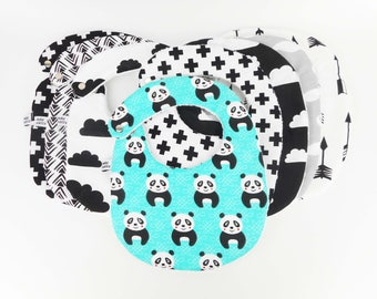 Bib 6-18 months, printed fancy fabric, fabric, birthstone list, meals, baby birth gift, black and white