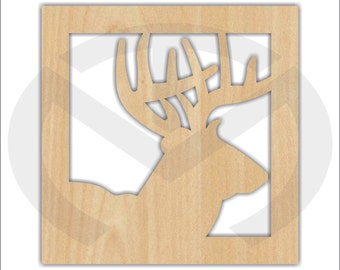 Unfinished Wood Square Framed Deer Laser Cutout, Home Decor, Country, Antlers, Rustic, Buck