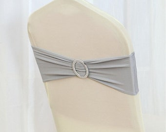 Grey Spandex Chair Bands Chair Sashes Chair Bow Tie Ribbon Wedding Engagement Birthday Anniversary Party Reception Bouquet Chair Decoration
