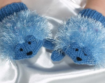 Crochet blue hedgehog gloves , gift  for child   sister , boyfriend  Clothing- Cute hedgehog gloves for children- children clothing-  Sale