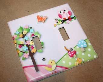 Owls Love Birdies Girl's Nature Forest Bedroom Double Light Switch Cover