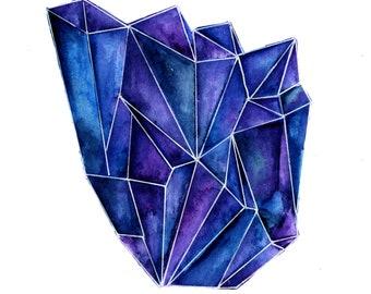 Crystal watercolour print A5