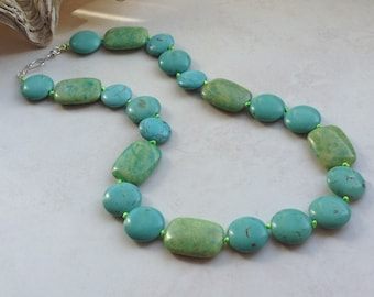 Turquoise Statement Knotted Stone Necklace with Silver, Magnesite and Lime Green Chrysocolla