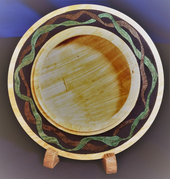 "Fiddleback Maple Turning – ""Best of Times"" – Shallow Wood Turning with Texture and Color – Includes display stand 23-16"