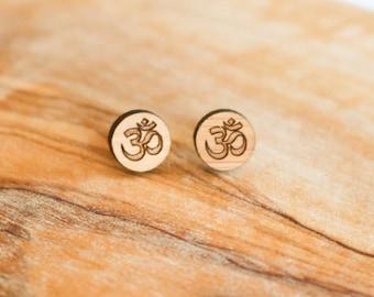 OM Earrings - Laser Cut - -Hand Made - Wood Earrings - Bamboo
