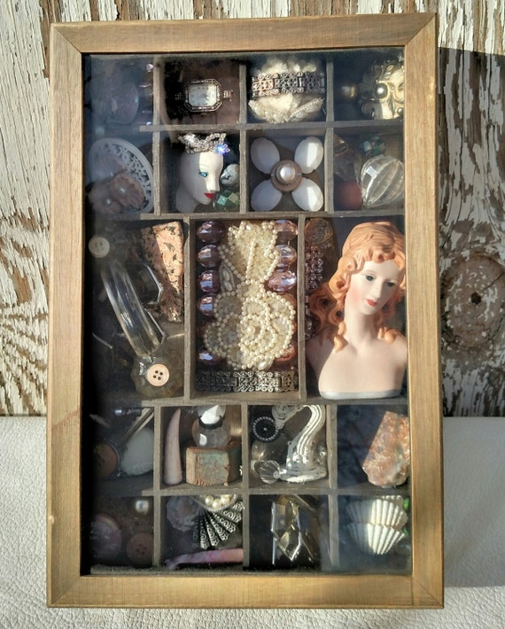 Shadow Box Assemblage - New and Vintage Mixed Media Art