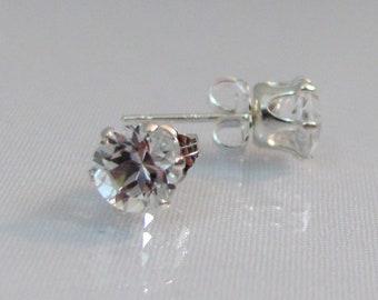 White Topaz Earrings, Stud Earrings in Sterling Silver, April Birthstone Gift, Diamond Like Earrings, 5mm Genuine Topaz, Topaz Jewelry