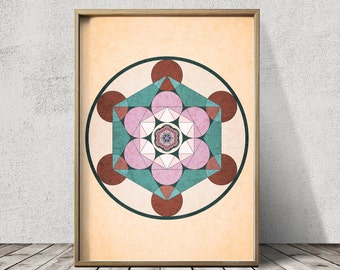Sacred Geometry Print Mandala Print Mandala Wall Art Sacred Geometry Print Mandala Art Flower of Life Print