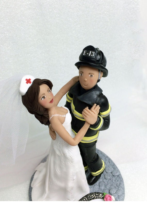 Custom Firefighter and Nurse Wedding Cake Topper Bride and