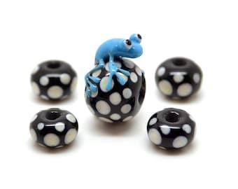 Frog beadset Lampwork Frog Turquoise/Black-Polka dot-5 pieces