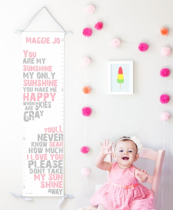 You Are My Sunshine canvas growth chart in pink and gray