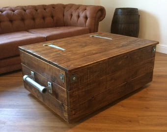 Extra Large Reclaimed Wooden Storage Chest Ottoman Blanket Box Trunk Coffee Table