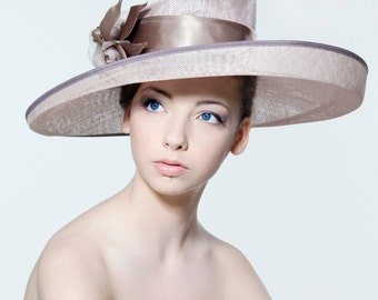 Formal picture hat with silk dupion and silk organza flower spray perfect for weddings/ the Melbourne Cup.