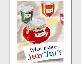 """1950s Kitchen Decor (Vintage Cookbook Illustration, Country Home Wall Art) """"What Makes Jelly Jell"""" --- Food Print"""