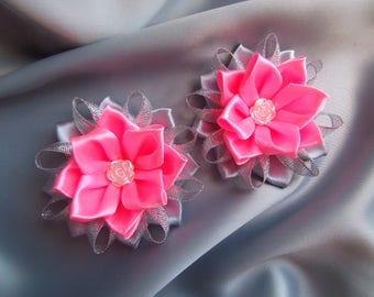 pink kanzashi hair clip flower japanese hair clip accessories fabric ribbon flowers bows for girls alligator hair clips girls barrettes