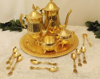 Vintage Gold Plated Coffee Tea Set w Butler Tray & Demitasse Spoons