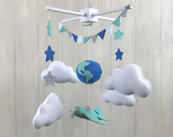 Baby mobile - airplane mobile - globe mobile - world mobile - travel theme - travel nursery - pilot mobile - felt name banner
