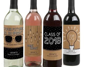 Graduation Wine Labels - Personalized 2018 Graduation Wine Bottle Stickers - Custom Bright Future Graduation Wine Sticker Labels Set of 4