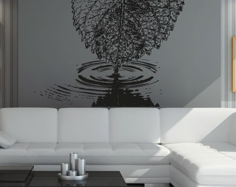 Vinyl Wall Decal Sticker Leaf Water Ripple OSAA1549s