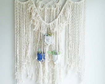 Shabby Chic Hanging Planter- Wall Accent- Bohemian Decor- Vertical Garden- Modern Macrame- White Wall Accent- Boho Home Decor-  BohoChic