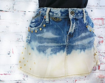 Denim Mini skirt  -upcycled denim skirt, Acid wash denim skirt - high waisted denim skirt -blue jean skirt -  Size 9 skirt,    # 26