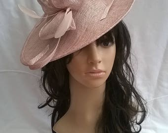 Latte pink sparkle Feather Fascinator..Stunning shaped Fascinator on a Headband..
