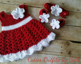 Red Crochet Baby Set Infant Baby Dress, Handmade Baby Girl Gift, Newborn Baby Dress, Baby Shower Gift, Infant Girl Dress, Coming Home