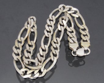 Vintage Italian Sterling Silver FIGARO Link Chain Necklace 20'' Length