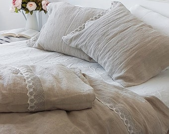 3 pcs natural lace linen bedding set - softened heavier linen duvet cover and lace pillowcases - Twin Queen King linen duvet set with lace