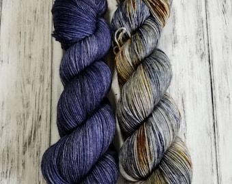 Quarterly Yarn Club - Gypsum MCN duo - Azurite and Variegated Glaucophane