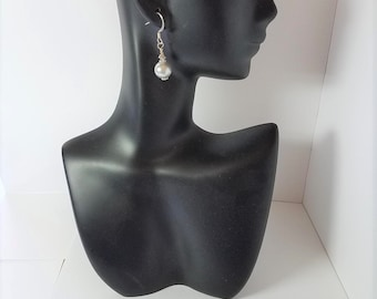 Earrings Dove Grey Glass Pearls & Silver