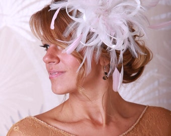 Ivory & Baby Pink Feather Fascinator Hat- Headband or comb  Any colour can be ordered - Wedding,Bridal,Mother of the Bride,Tea Party,Ascot