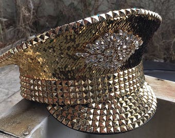 Gold/Rainbow Reversible Sequin Captains Hat (READY TO SHIP!)