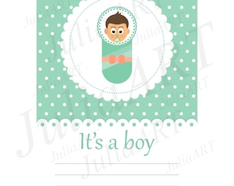 cartoon baby boy card vector image