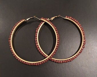 Large Brown Beaded Gold Tone Hoops 3""
