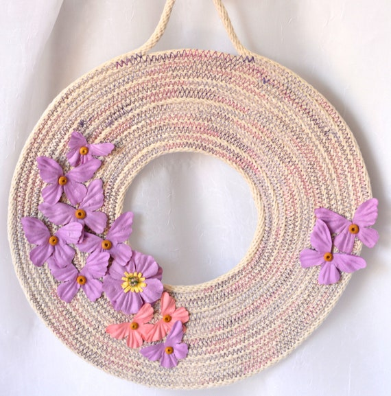 Violet Coiled Wreath, Summer Door Hanger, Lovely Wall Art, Artisan Quilted Wreath, Handmade Floral Home Decor, Modern