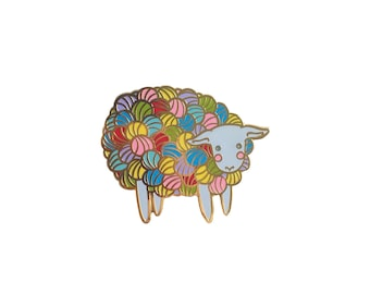 Yarn Sheep Enamel Pin Lamb Enamel Pin - lamb pin- knitting pin - lamb pin lapel pin hat pin - Yarn hard enamel pin