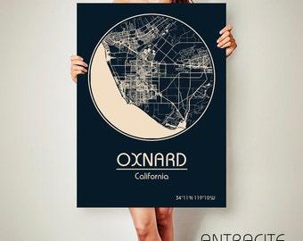 OXNARD California CANVAS Map Oxnard California Poster City Map Oxnard California Art Print Oxnard California