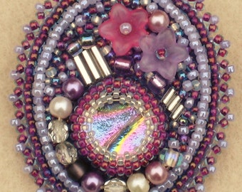 Bead Embroidered Brooch/Pin with Glass Beads, Pearls and Flowers