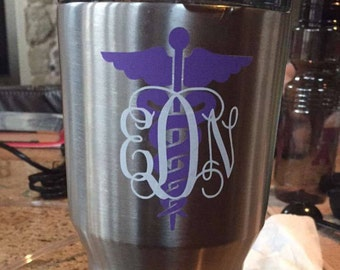 Caduceus medical symbol monogram decal